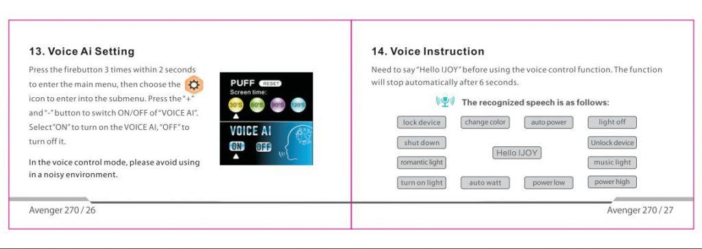 ijoy avenger voice control