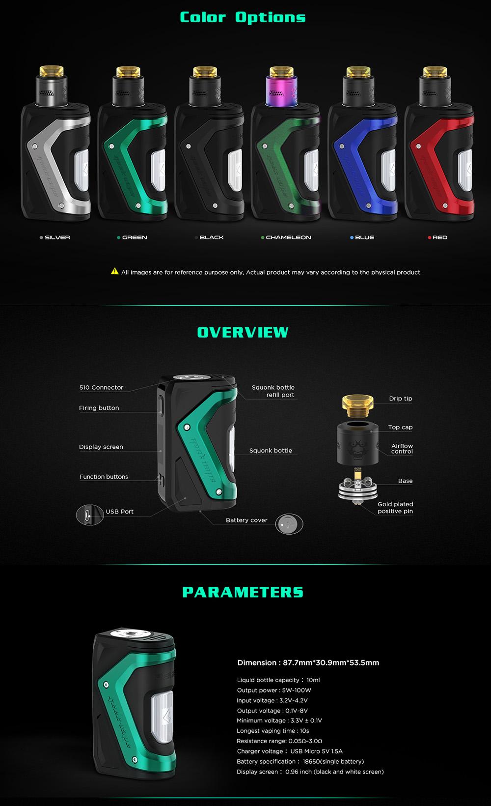Geekvape Aegis Squonk 100w Mod Kit